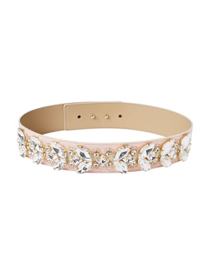 Wide Crystal Belt - Faded Blush