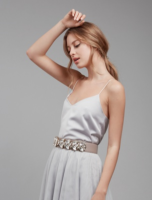 Wide Crystal Belt - Cream Beige