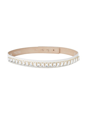 Slim Crystal Belt - Ivory