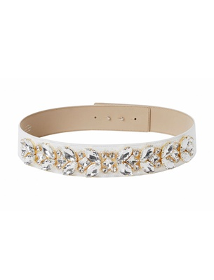 Wide Crystal Belt - Ivory