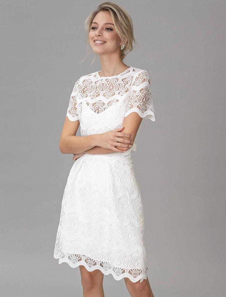 Spitze hochzeitskleid kurz Vintage Brautkleid